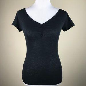 Melrose and Market Black Gathered V-Neck Tee Shirt